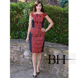 Black Halo NWT black & red print sheath dress